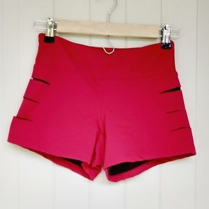 NWOT lovers+ friends WORK workout shorts red